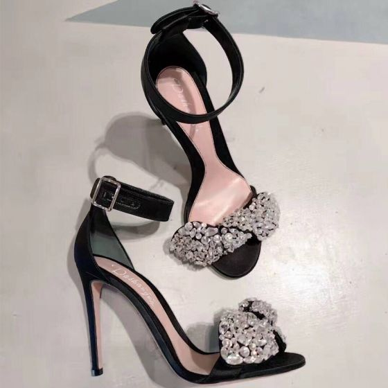 Charming Black Evening Party Womens Shoes 2019 Leather Ankle Strap Rhinestone 10 cm Stiletto Heels Open / Peep Toe Heels