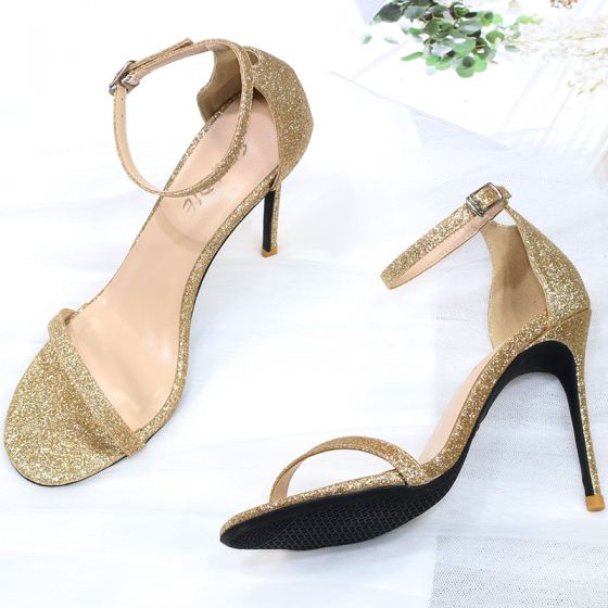 Sexy Gold Glitter Evening Party Womens Sandals 2020 Ankle Strap Sequins 10 cm Stiletto Heels Pointed Toe Sandals