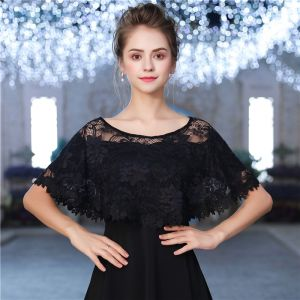 Black Lace Tulle U-Neck Evening Party Prom Shawls 2017