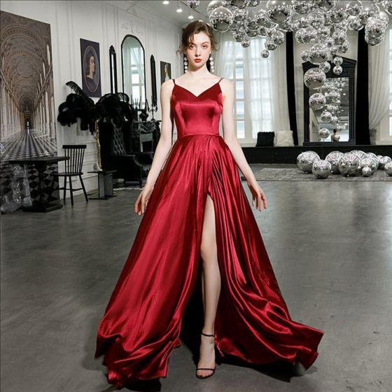Sexy Burgundy Satin Evening Dresses  2020 A-Line / Princess Spaghetti Straps Sleeveless Split Front Sweep Train Ruffle Backless Formal Dresses