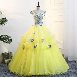 Fée Des Fleurs Jaune Robe De Bal 2018 Robe Boule V-Cou Tulle Brodé Appliques Dos Nu Promo Robe De Ceremonie