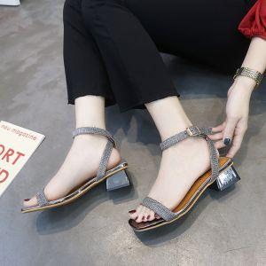 Korting Zilveren Toevallig Sandalen Dames 2018 Enkelband 3 cm Dikke Hak Peep Toe Sandalen