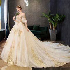 Classy Champagne Wedding Dresses 2019 A-Line / Princess Off-The-Shoulder Beading Sequins Lace Flower Short Sleeve Backless Royal Train