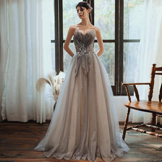 Charming Grey Gradient-Color Evening Dresses  2020 A-Line / Princess Sweetheart Sleeveless Beading Glitter Tulle Sweep Train Ruffle Backless Formal Dresses