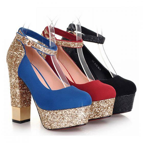 Mujer Con Tacones Brillantes Zapatos Alto Bombas Para Azules Tacón Plataforma hQrdtsC