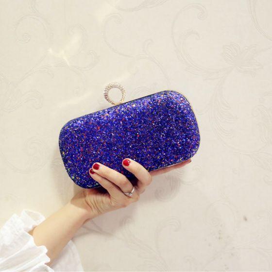 Bling Bling Starry Sky Royal Blue Glitter Clutch Bags 2018