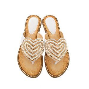 Mooie / Prachtige Zomer Witte Toevallig Pantoffel & Slippers 2020 Parel Rhinestone Peep Toe Sandalen Dames