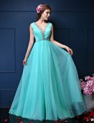 A-line Deep V-neck Beading Rhinestone Backless Pool Color Chiffon Evening Dress