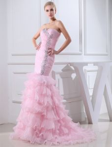 2015 Charming Mermaid Sweetheart Strapless Pleated Cascading Ruffles Prom Dress