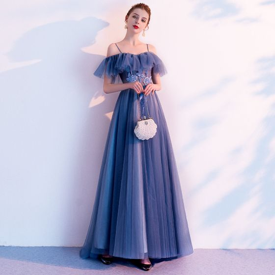 Chic / Beautiful Ocean Blue Evening Dresses  2020 A-Line / Princess Spaghetti Straps Short Sleeve Backless Appliques Lace Beading Sweep Train Ruffle Formal Dresses