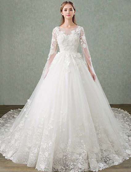Lace Wedding Dress With Sleeves.Princess Wedding Dresses 2017 Unique Sleeves Design Applique Lace Bridal Gowns With 1 M Train