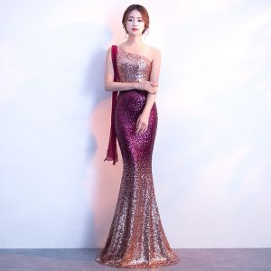 Bling Bling Grape Sweep Train Evening Dresses  2018 Trumpet / Mermaid One-Shoulder Backless Beading Sequins Evening Party Formal Dresses