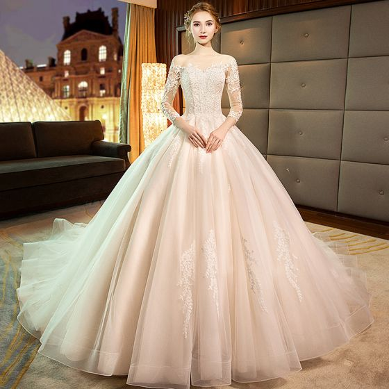 Elegant Champagne See-through Wedding Dresses 2019 A-Line / Princess Scoop Neck 3/4 Sleeve Backless Pierced Appliques Lace Pearl Cathedral Train Ruffle