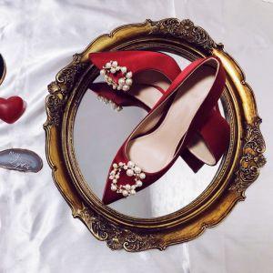 Charmant Rouge Satin Chaussure De Mariée 2020 Perle Faux Diamant 8 cm Talons Aiguilles À Bout Pointu Mariage Escarpins