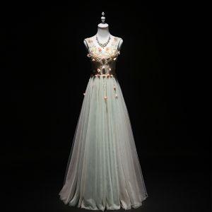 Élégant Vert Cendré Robe De Soirée 2019 Princesse V-Cou Perlage Perle Appliques Sans Manches Dos Nu Longue Robe De Ceremonie