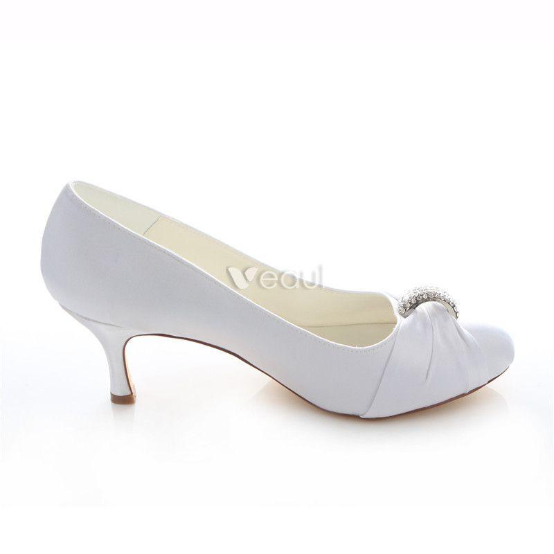 Elegant Satin Wedding Shoes Stiletto Heels White Pumps With Crystal