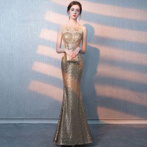 Scintillantes Doré Paillettes Transparentes Robe De Soirée 2018 Trompette / Sirène Encolure Dégagée Sans Manches Longue Robe De Ceremonie
