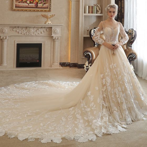 Chic / Beautiful Champagne Pierced Wedding Dresses 2017 A-Line / Princess Scoop Neck Long Sleeve Appliques Lace Pearl Rhinestone Cathedral Train