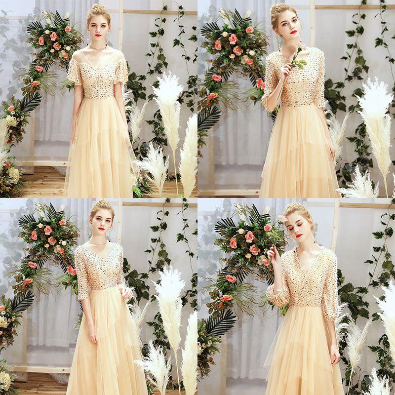 Piękne Szampan Sukienki Dla Druhen 2019 Princessa Cekinami Cekiny Długie Wzburzyć Sukienki Na Wesele