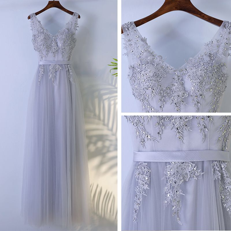 Modest / Simple Grey Bridesmaid Dresses 2017 A-Line / Princess Lace Flower Sequins Zipper Up V-Neck Sleeveless Ankle Length Wedding Party Dresses