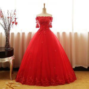 Chic / Beautiful Red Prom Dresses 2017 Ball Gown Off-The-Shoulder 1/2 Sleeves Appliques Lace Rhinestone Sequins Beading Floor-Length / Long Ruffle Backless Formal Dresses
