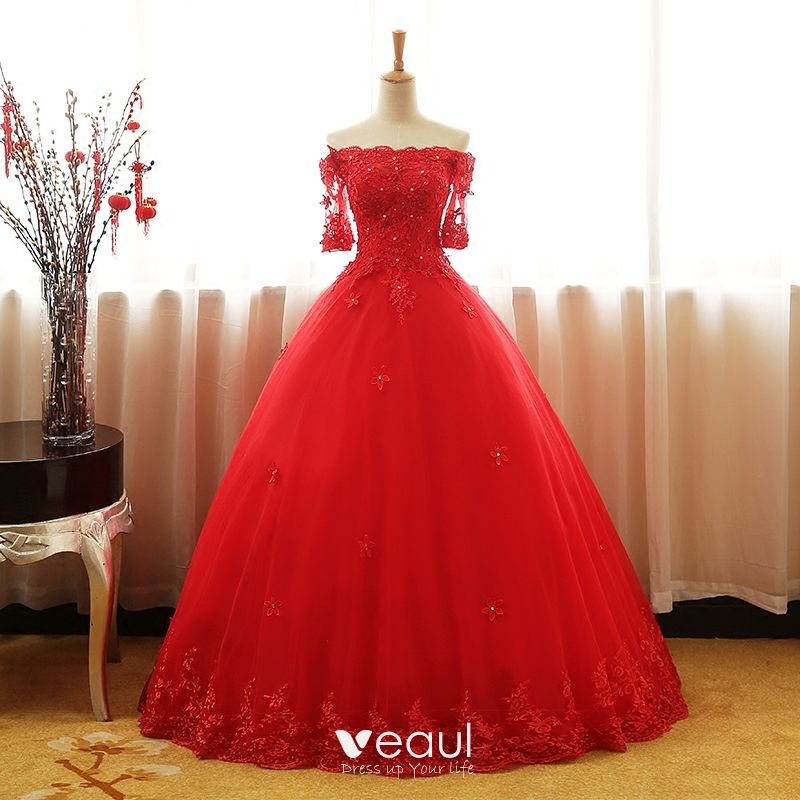 c015371ab81 Chic   Beautiful Red Prom Dresses 2017 Ball Gown Off-The-Shoulder 1 2  Sleeves Appliques Lace Rhinestone Sequins Beading Floor-Length ...