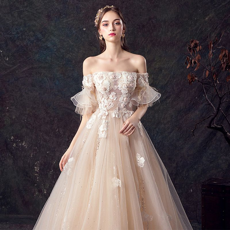 Elegant Champagne Wedding Dresses 2019 A-Line / Princess Off-The-Shoulder Bell sleeves Feather Backless Appliques Lace Beading Pearl Glitter Tulle Court Train Ruffle