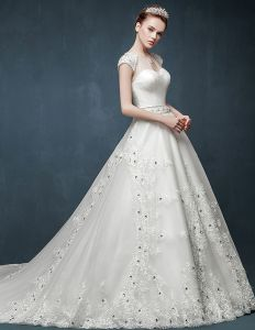 2015 Luxury Fishtail Slim Thin Double Shoulder V-neck Long Tail Wedding Dress