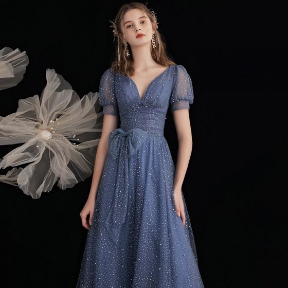 Mode Havblåt Gallakjoler 2021 Prinsesse V-Hals Sløjfe Beading Pailletter Kort Ærme Halterneck Lange Galla Kjoler