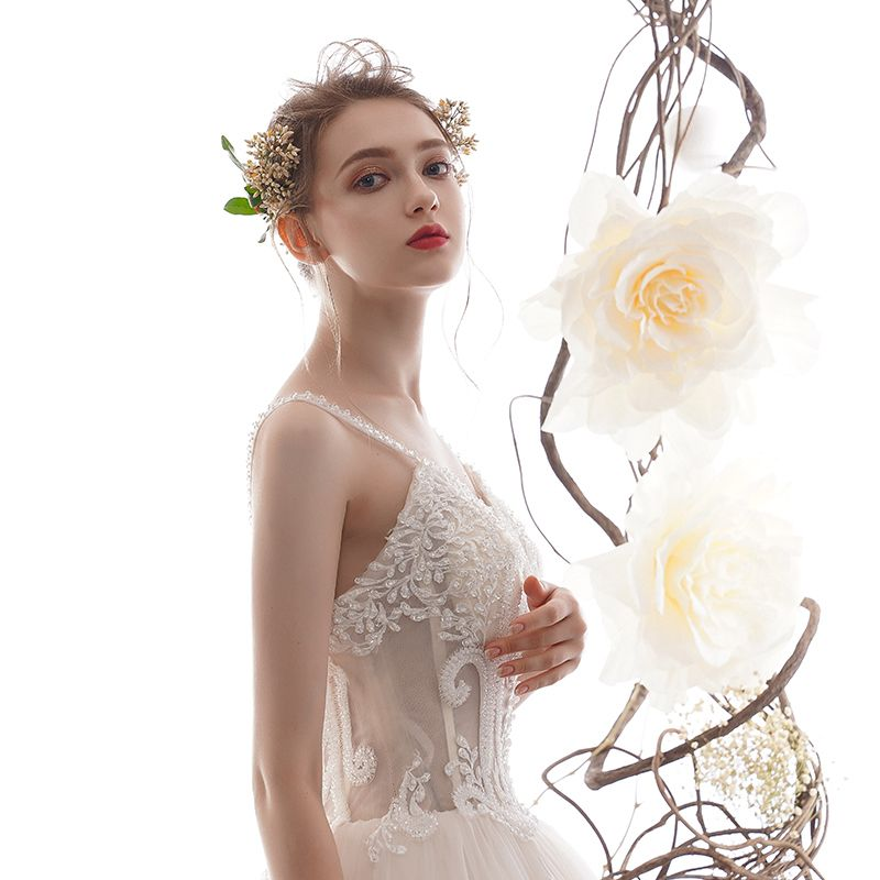 Best Champagne Wedding Dresses 2019 A-Line / Princess Spaghetti Straps Sleeveless Backless Appliques Lace Handmade  Beading Cathedral Train Ruffle