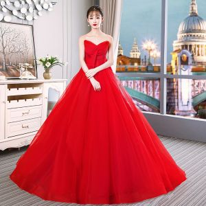 Charming Red Wedding Dresses 2019 A-Line / Princess Strapless Sequins Sleeveless Bow Backless Royal Train