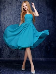 Simple One-shoulder Ruffle Knee Length Jade Chiffon Bridesmaid Dress