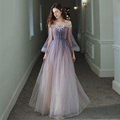 Elegant Purple Gradient-Color Evening Dresses  2020 A-Line / Princess Off-The-Shoulder Bell sleeves Appliques Flower Beading Glitter Tulle Floor-Length / Long Ruffle Backless Formal Dresses