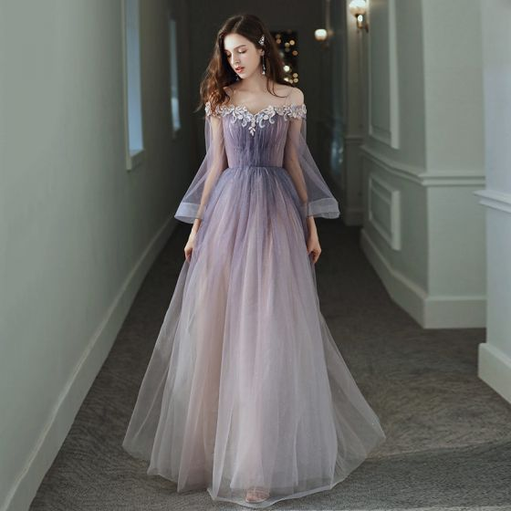 Elegant Purple Gradient-Color Evening Dresses  2020 A-Line / Princess Off-The-Shoulder Bell sleeves Appliques Flower Beading Glitter Tulle Floor-Length / Long Ruffle Backless Formal Dresses