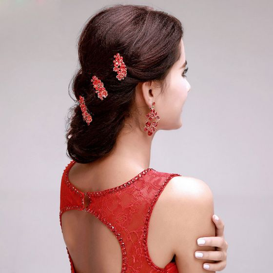 Red Flowers Bridal Headpieces / Head Flower / Wedding Hair Accessories / Wedding Jewelry / Earring Two-piece