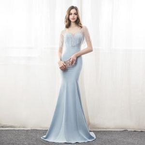 Schöne Abendkleider 2018 Mermaid Perlenstickerei Quaste V-Ausschnitt Rückenfreies Kurze Ärmel Lange Festliche Kleider