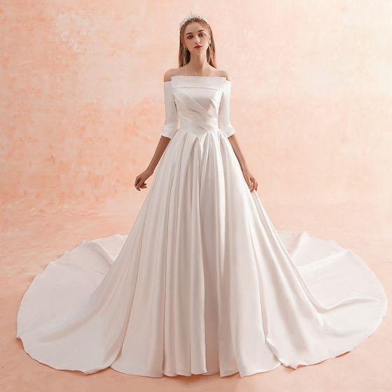 großer Rabatt wähle spätestens wo kann ich kaufen Schlicht Ivory / Creme Winter Brautkleider / Hochzeitskleider 2019 ...