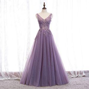 Stilig Purple Selskapskjoler 2020 Prinsesse V-Hals Beading Blonder Blomst Uten Ermer Ryggløse Lange Formelle Kjoler