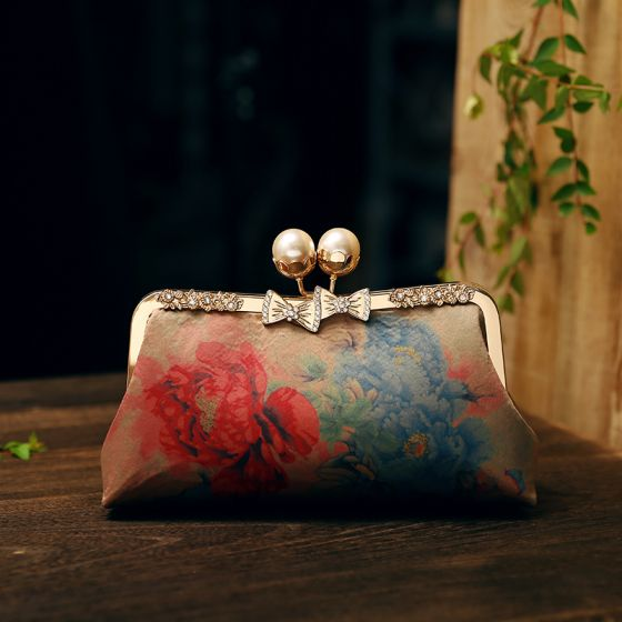 Chinese style Vintage / Retro Multi-Colors Square Clutch Bags 2020 Metal Rhinestone Printing Flower Polyester