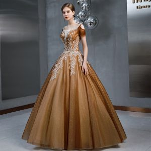 Vintage / Retro Brown See-through Prom Dresses 2020 A-Line / Princess Square Neckline Short Sleeve Glitter Tulle Appliques Lace Beading Floor-Length / Long Ruffle Backless Formal Dresses
