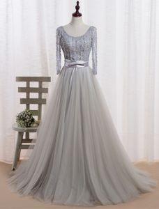 Abendkleid 2016 Glamourösen Halsausschnitt Perlen Pailletten Grau Tüll Langes Abendkleid Mit Schleife Schärpe
