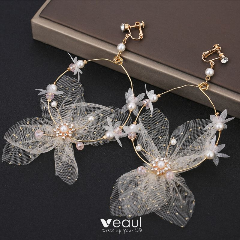 Flower Fairy Cinderella White Earrings Headpieces 2019 Butterfly Flower Wedding Prom Evening Party Handmade  Accessories