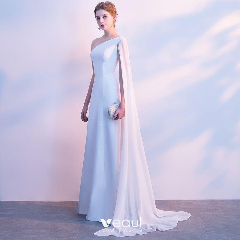 Modest / Simple Evening Dresses  2018 A-Line / Princess One-Shoulder Backless Sleeveless Floor-Length / Long Formal Dresses