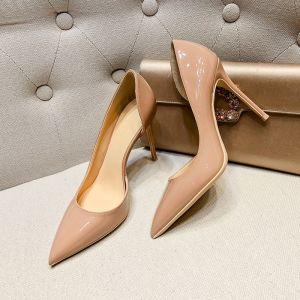 Simple Nues Bureau OL Chaussures Femmes 2020 Cuir Verni 10 cm Talons Aiguilles À Bout Pointu Talons Hauts