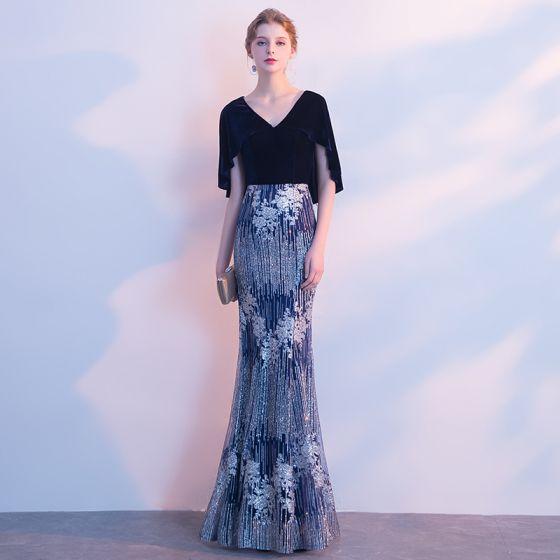 Seksowne Błyszczące Sukienki Wieczorowe 2017 Syrena / Rozkloszowane Cekinami V-Szyja 1/2 Rękawy Długie Sukienki Wizytowe