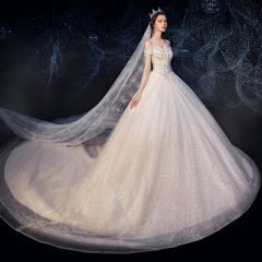 Sparkly Champagne Wedding Dresses 2019 Ball Gown Off-The-Shoulder Short Sleeve Backless Glitter Sequins Tulle Chapel Train Ruffle