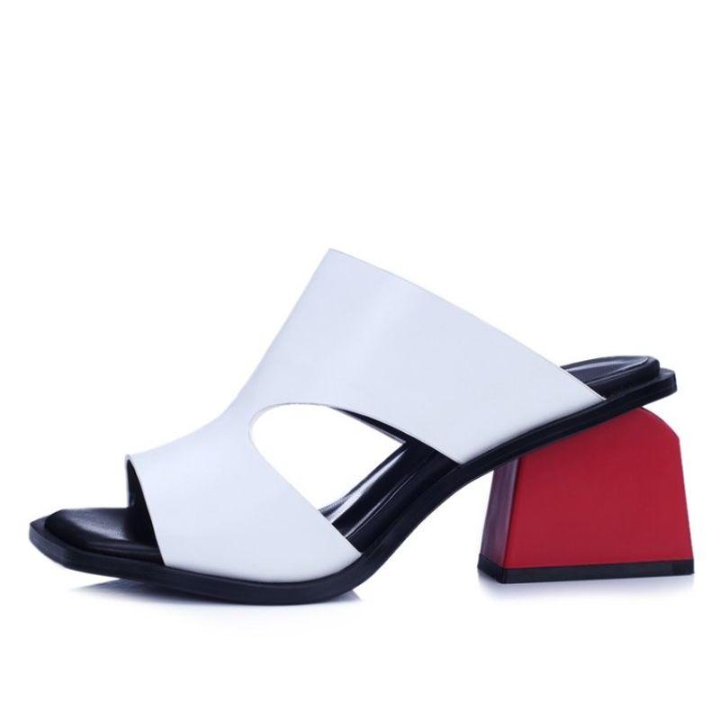 Chic / Beautiful Leather Womens Sandals 2017 Outdoor / Garden Mid Heels Open / Peep Toe Sandals