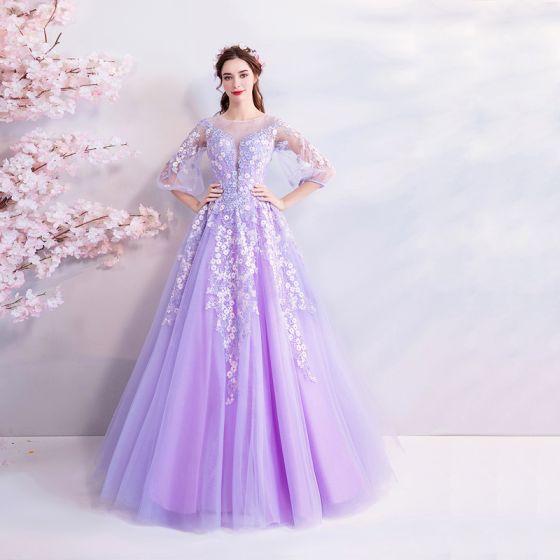 Hada de las flores Espliego Largos Vestidos de gala 2018 A-Line / Princess Tul U-escote Apliques Sin Espalda Rebordear Noche Gala Vestidos Formales