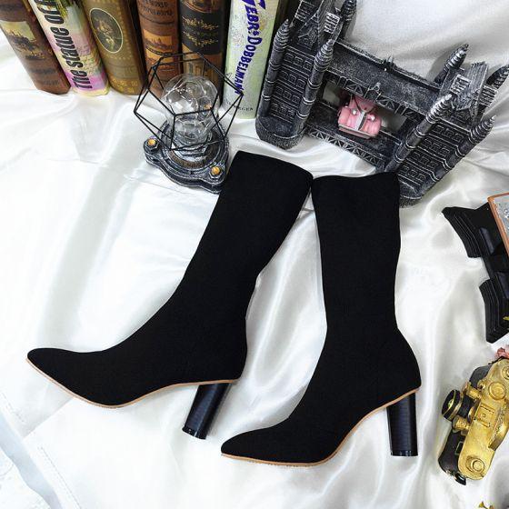 Hermoso Negro Invierno Casual Botas de mujer 2020 9 cm Talones Gruesos Punta Estrecha Botas