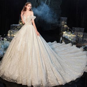 Luxury / Gorgeous Charming Champagne Wedding Dresses 2020 Ball Gown Ruffle Strapless Lace Sequins Short Sleeve Backless Royal Train